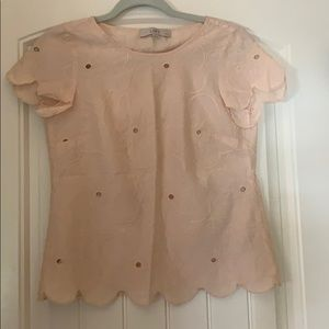 Loft floral eyelet top with scallops